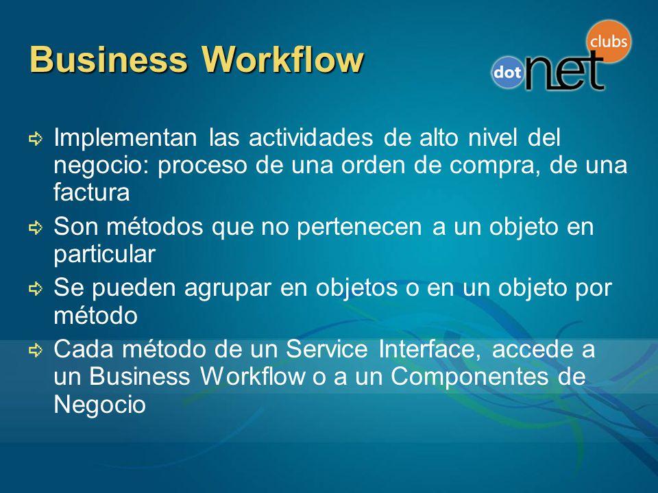 Business Workflow Implementan las actividades de alto nivel del negocio: proceso de una orden de compra, de una factura.
