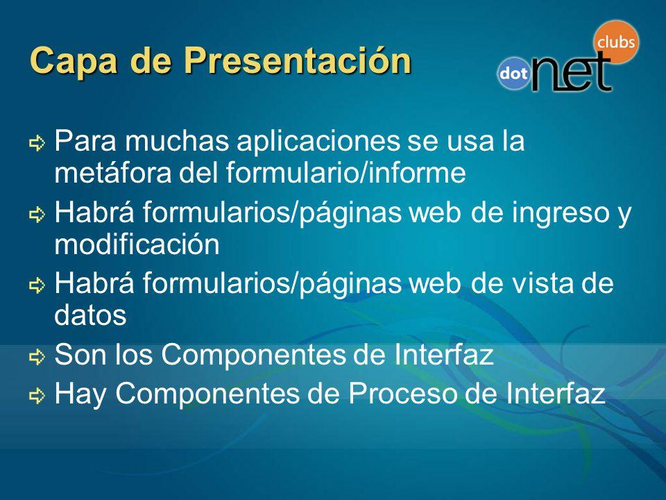 Capa de Presentación Para muchas aplicaciones se usa la metáfora del formulario/informe. Habrá formularios/páginas web de ingreso y modificación.