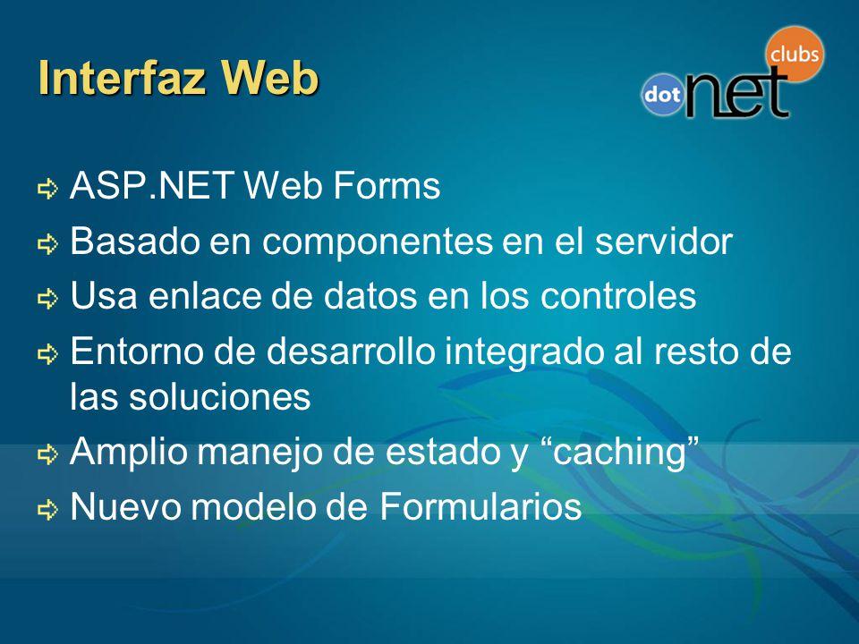 Interfaz Web ASP.NET Web Forms Basado en componentes en el servidor