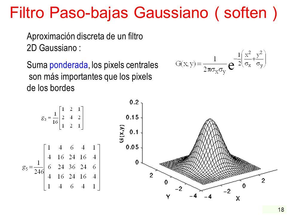 Filtro Paso-bajas Gaussiano ( soften )