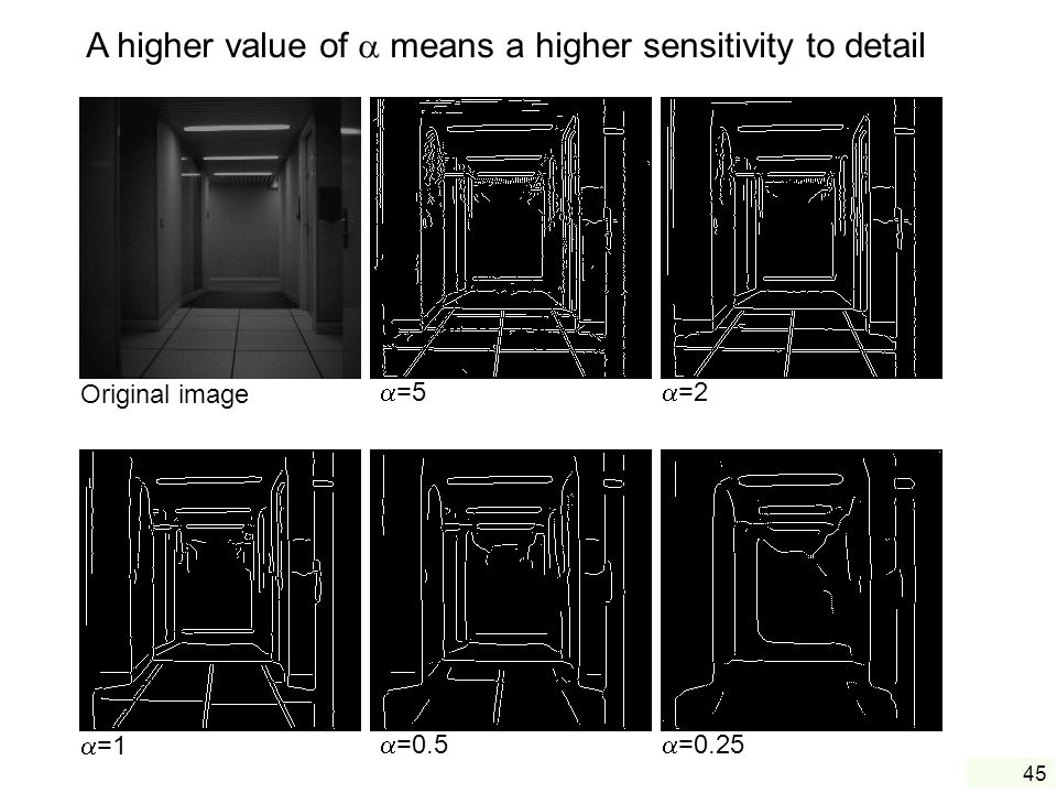 A higher value of  means a higher sensitivity to detail