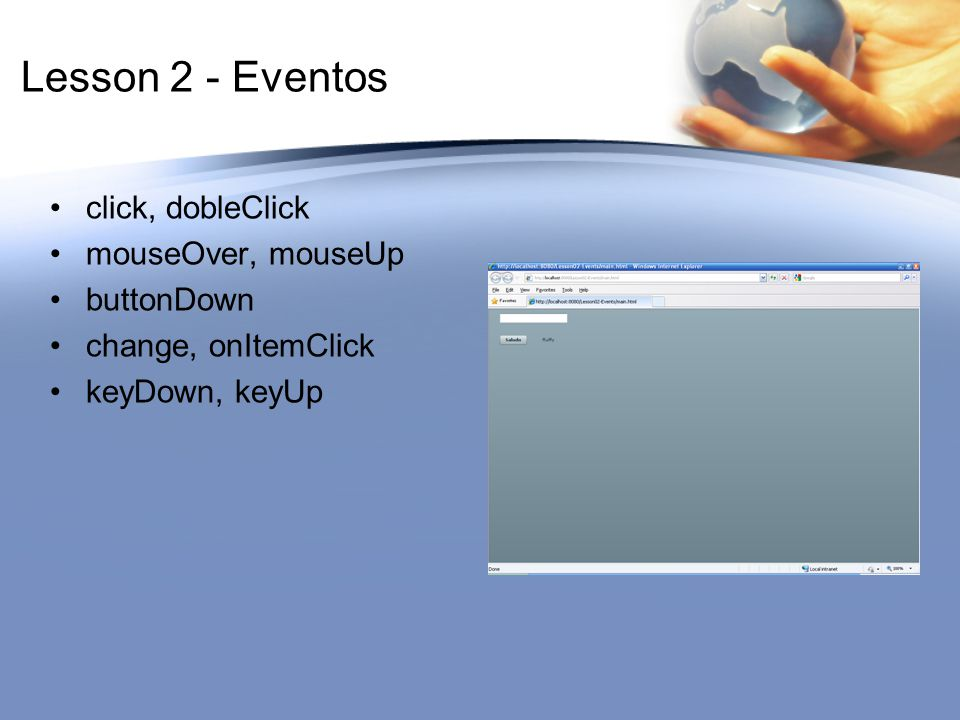 Lesson 2 - Eventos click, dobleClick mouseOver, mouseUp buttonDown