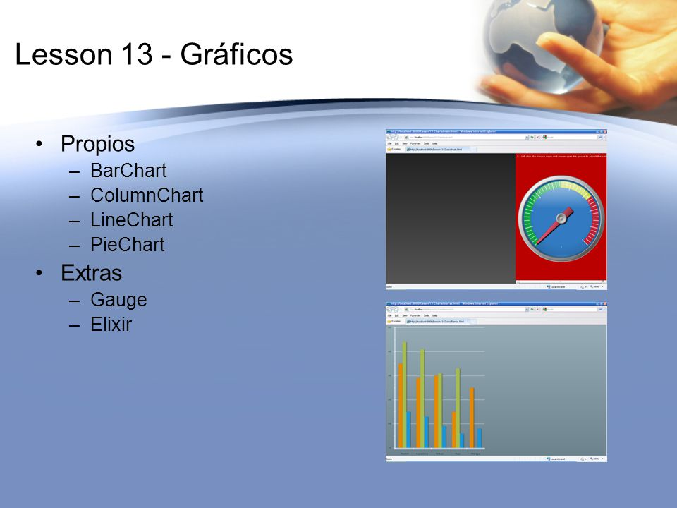 Lesson 13 - Gráficos Propios Extras BarChart ColumnChart LineChart