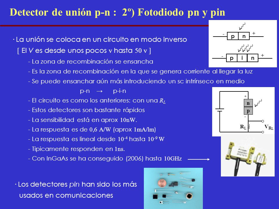 Detector de unión p-n : 2º) Fotodiodo pn y pin