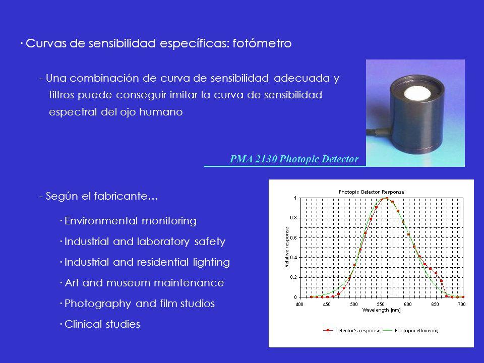 · Curvas de sensibilidad específicas: fotómetro