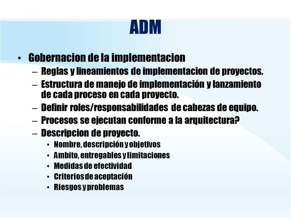ADM Gobernacion de la implementacion