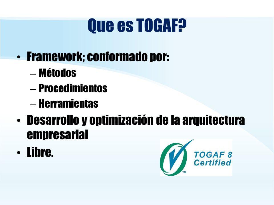 Que es TOGAF Framework; conformado por: