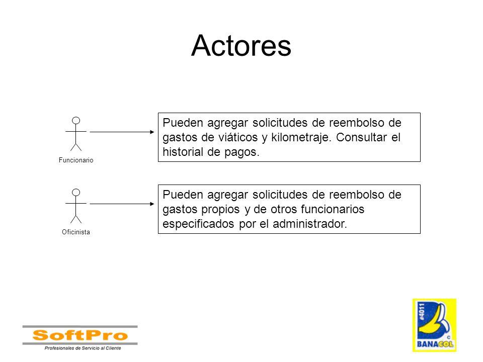 Actores Pueden agregar solicitudes de reembolso de gastos de viáticos y kilometraje. Consultar el historial de pagos.