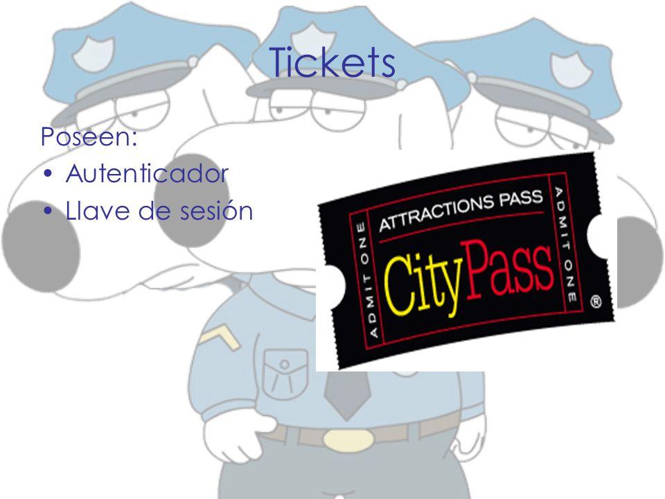 Tickets Poseen: Autenticador Llave de sesión