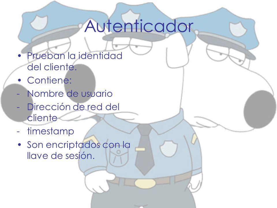 Autenticador Prueban la identidad del cliente. Contiene: