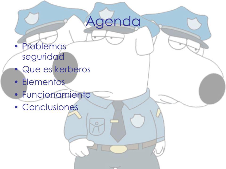 Agenda Problemas seguridad Que es kerberos Elementos Funcionamiento