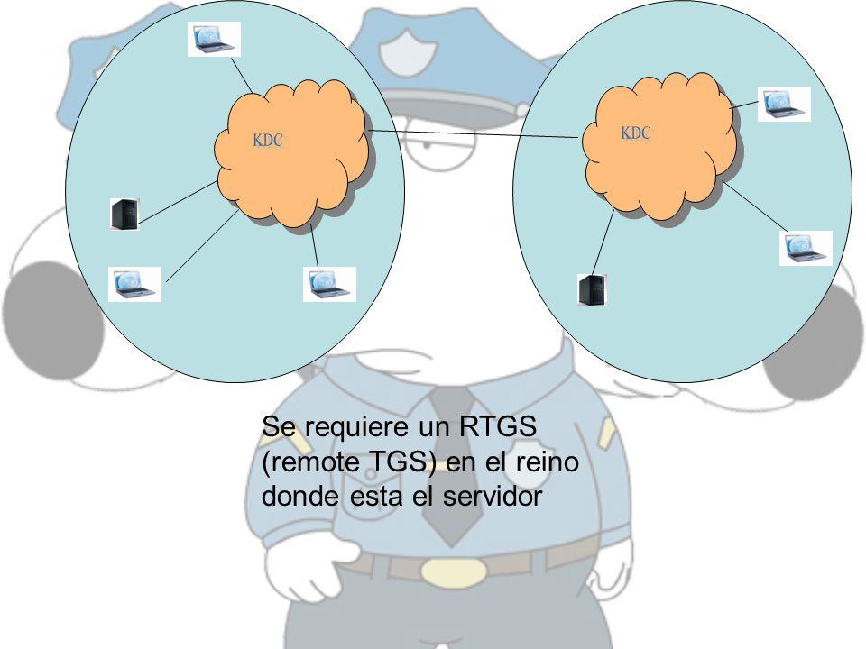 KDC KDC Se requiere un RTGS (remote TGS) en el reino donde esta el servidor