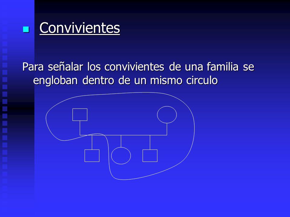 Convivientes Para señalar los convivientes de una familia se engloban dentro de un mismo circulo