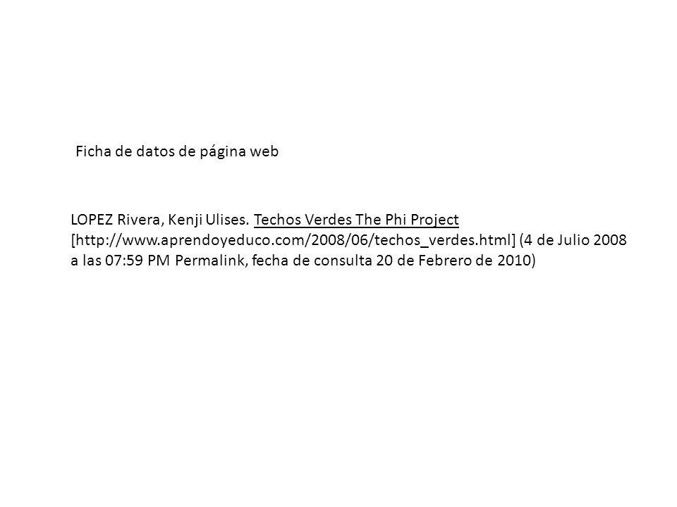 Ficha de datos de página web
