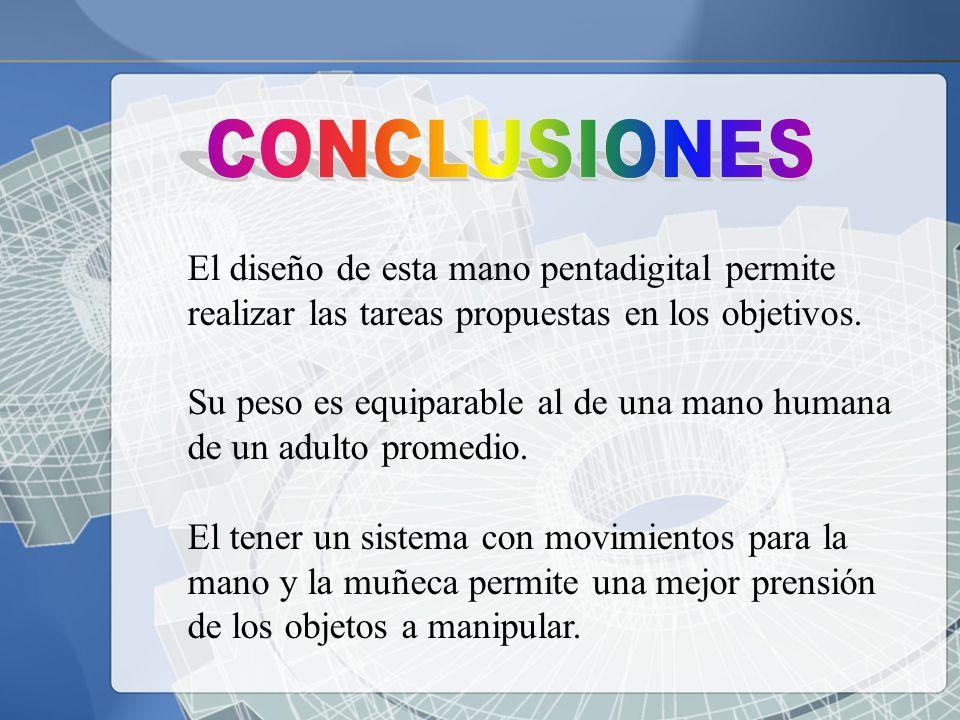 CONCLUSIONES El diseño de esta mano pentadigital permite realizar las tareas propuestas en los objetivos.