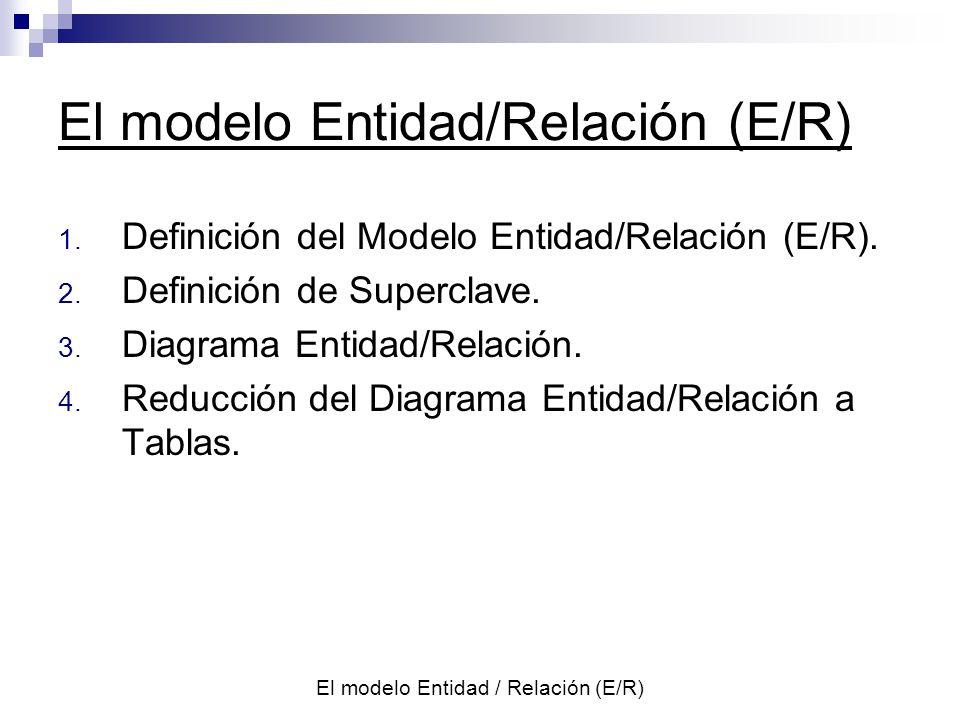 El modelo Entidad/Relación (E/R)