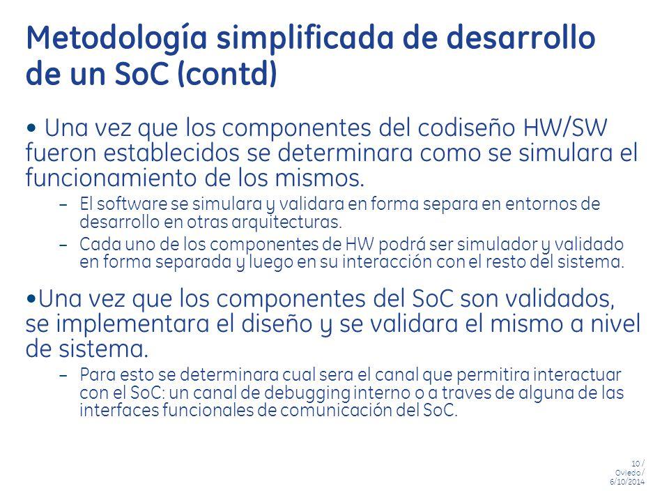 Metodología simplificada de desarrollo de un SoC (contd)