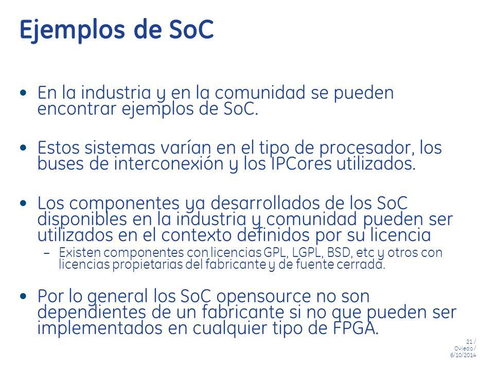 Ejemplos de SoC En la industria y en la comunidad se pueden encontrar ejemplos de SoC.