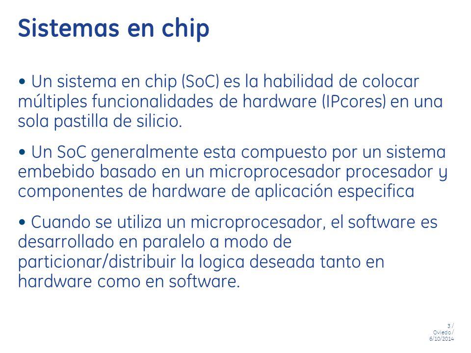 Sistemas en chip Un sistema en chip (SoC) es la habilidad de colocar múltiples funcionalidades de hardware (IPcores) en una sola pastilla de silicio.