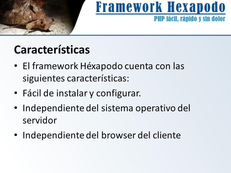 Características El framework Héxapodo cuenta con las siguientes características: Fácil de instalar y configurar.
