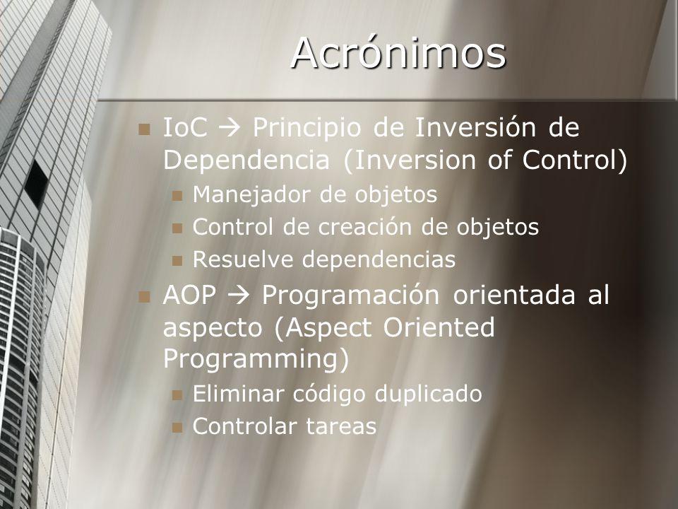 Acrónimos IoC  Principio de Inversión de Dependencia (Inversion of Control) Manejador de objetos.