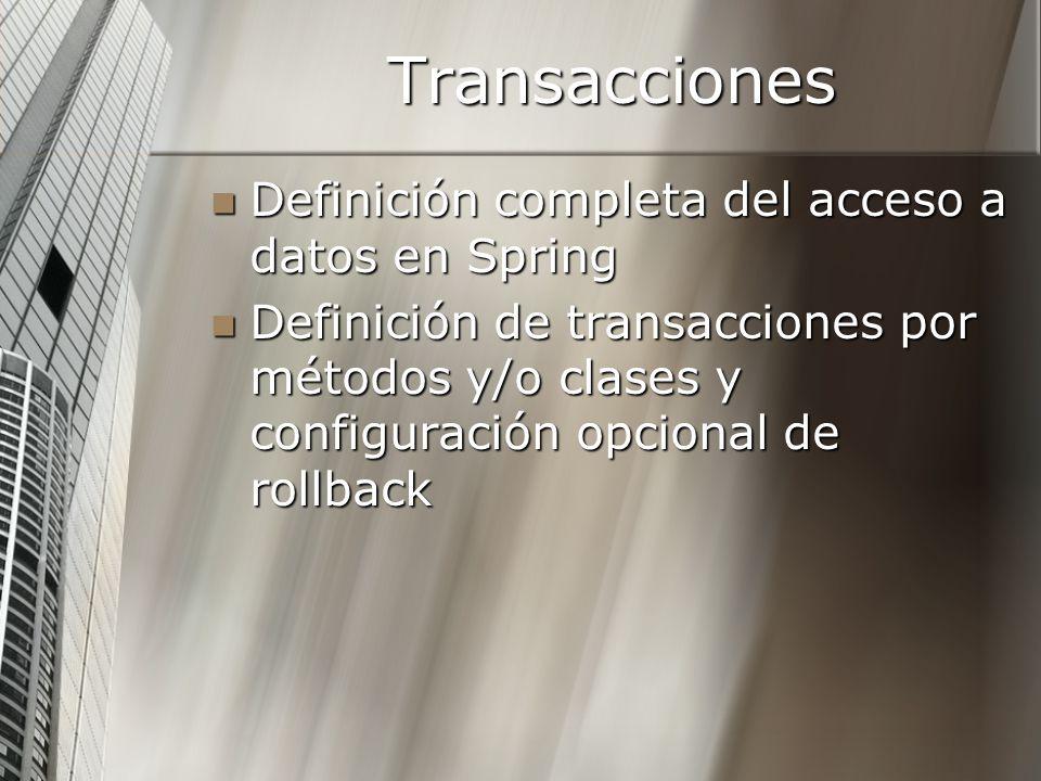 Transacciones Definición completa del acceso a datos en Spring
