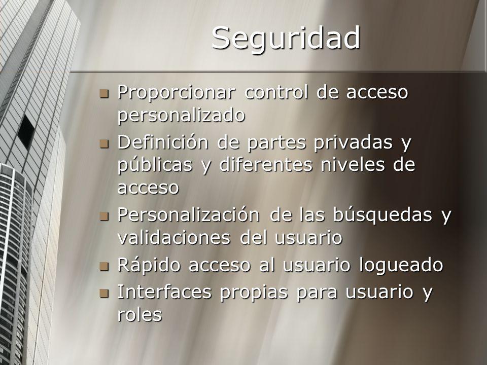 Seguridad Proporcionar control de acceso personalizado