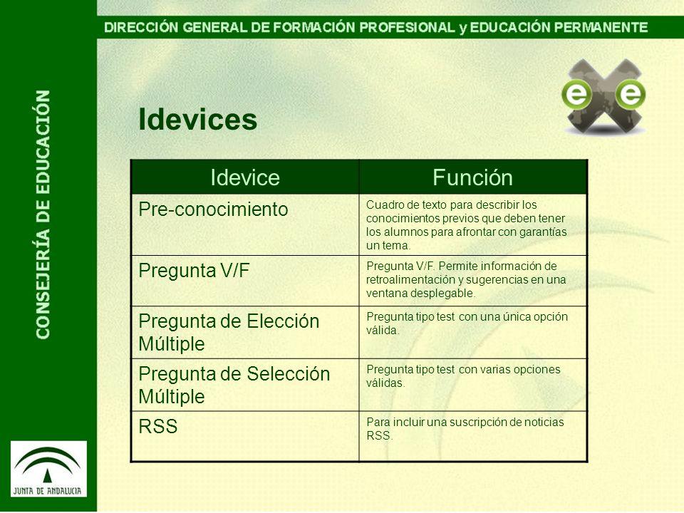 Idevices Idevice Función Pre-conocimiento Pregunta V/F