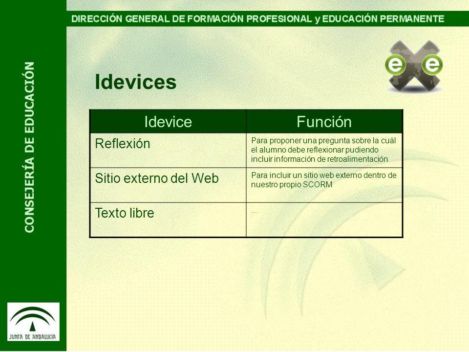 Idevices Idevice Función Reflexión Sitio externo del Web Texto libre