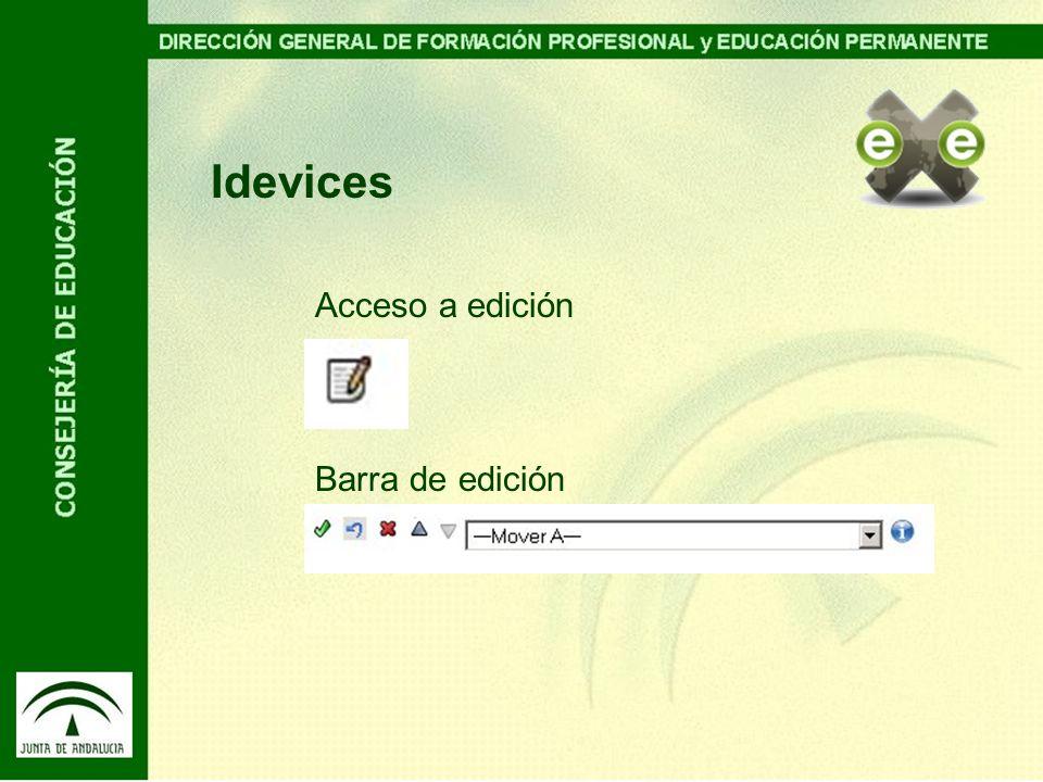Idevices Acceso a edición Barra de edición
