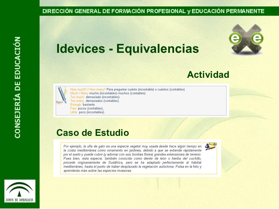 Idevices - Equivalencias