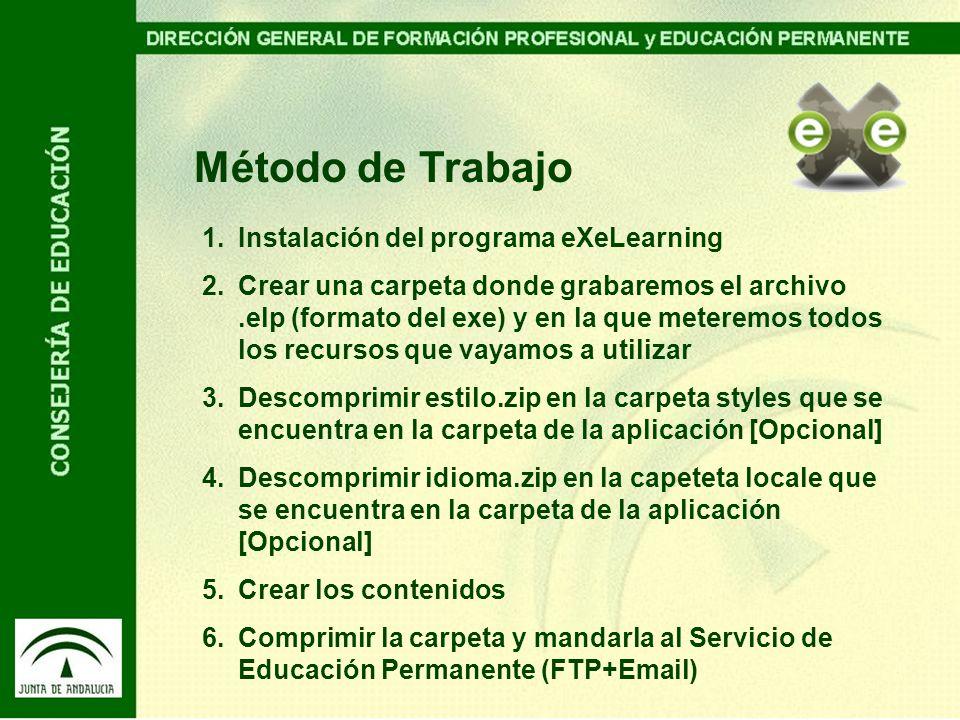 Método de Trabajo Instalación del programa eXeLearning