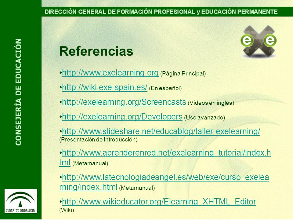 Referencias http://www.exelearning.org (Página Principal)