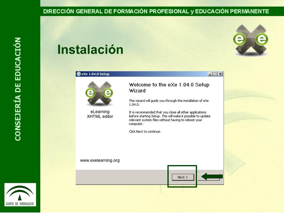 Instalación Al ejecutar el instalador, en caso de que hayamos optado por la opción instalable, pulsaremos en primer lugar sobre siguiente.