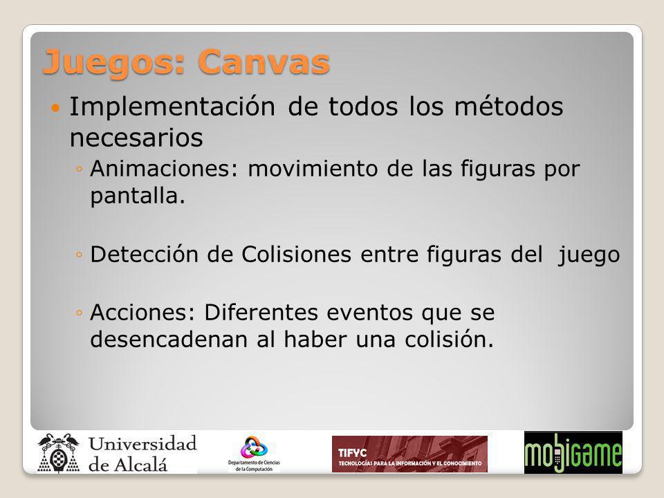 Juegos: Canvas Implementación de todos los métodos necesarios