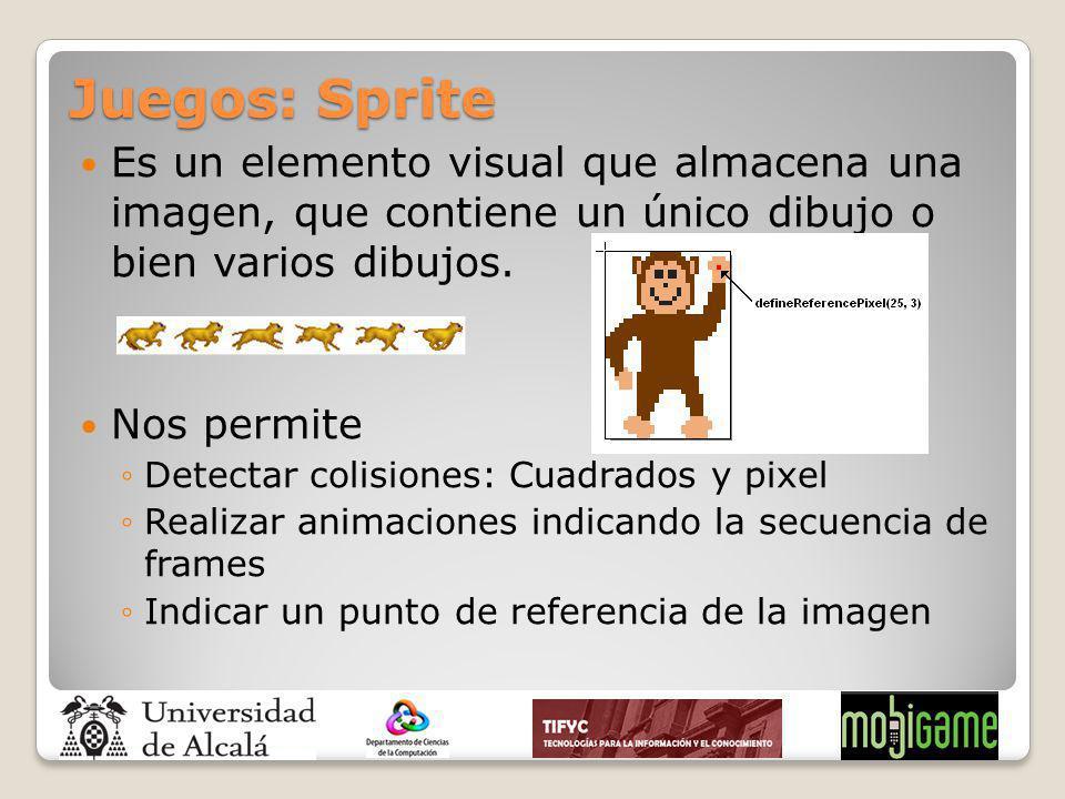 Juegos: Sprite Es un elemento visual que almacena una imagen, que contiene un único dibujo o bien varios dibujos.