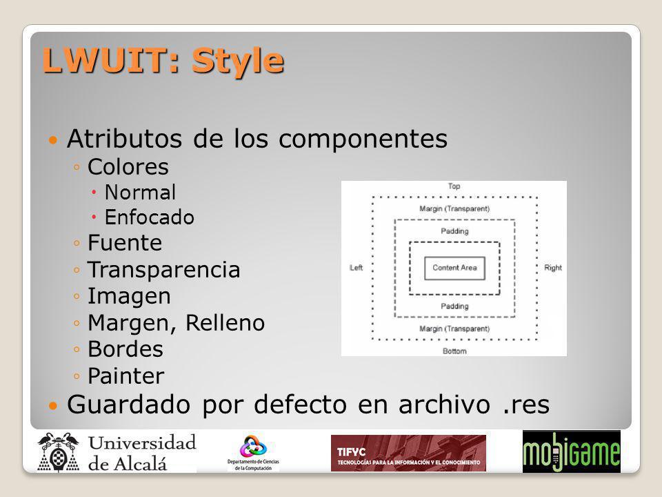 LWUIT: Style Atributos de los componentes