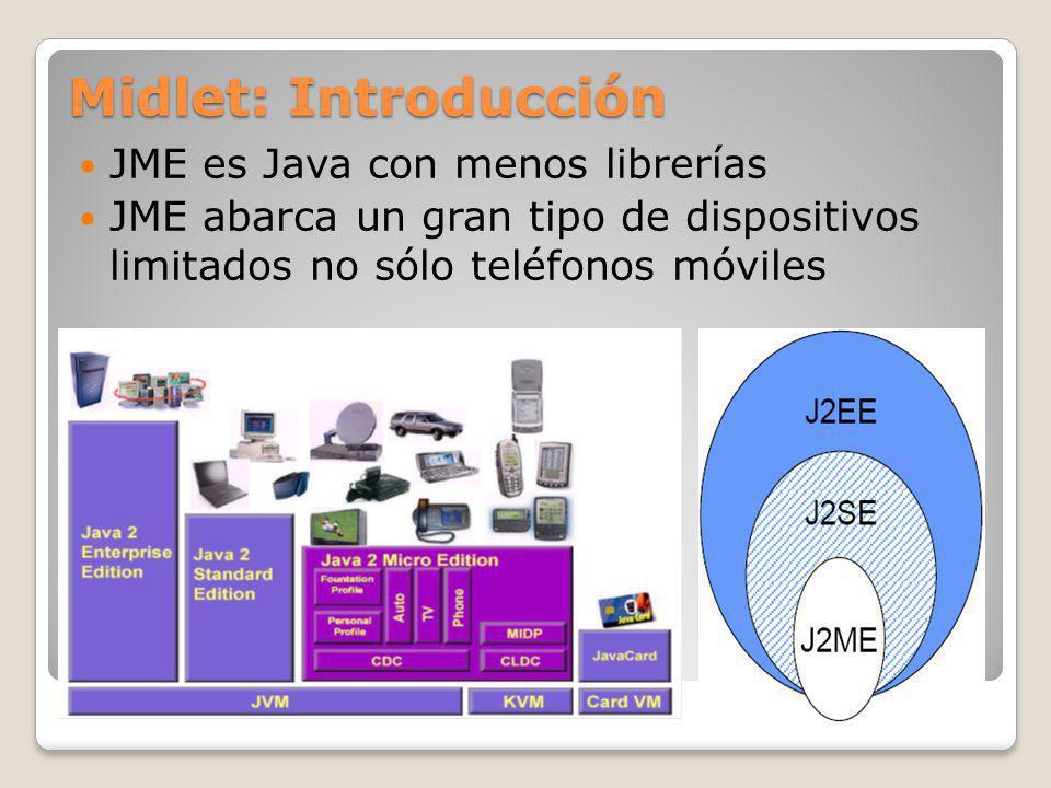 Midlet: Introducción JME es Java con menos librerías