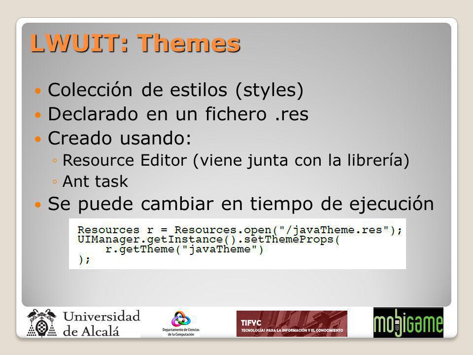 LWUIT: Themes Colección de estilos (styles)