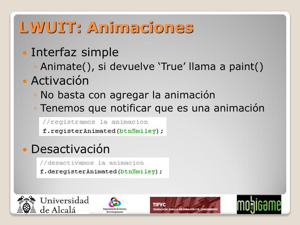 LWUIT: Animaciones Interfaz simple Activación Desactivación