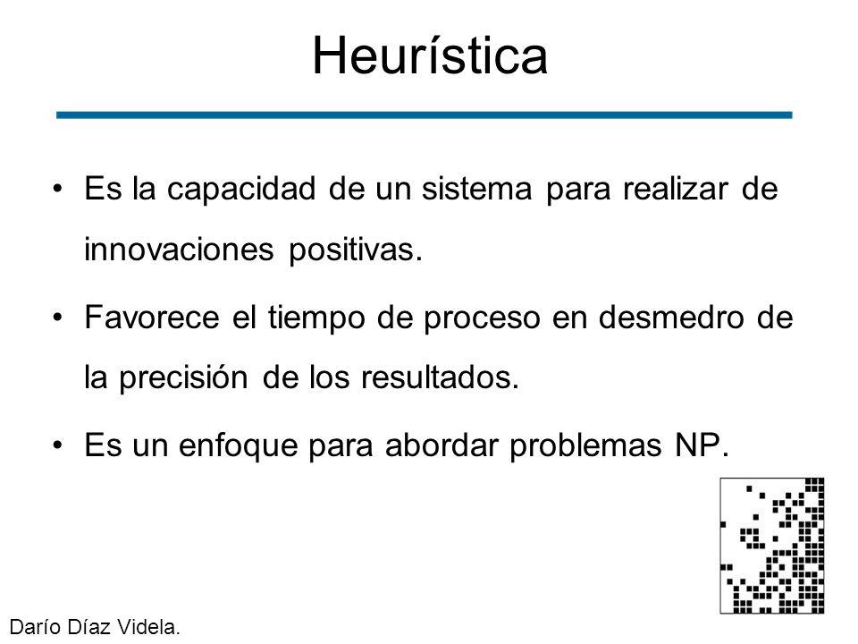 Heurística Es la capacidad de un sistema para realizar de innovaciones positivas.