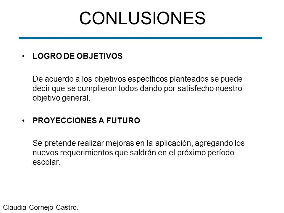 CONLUSIONES LOGRO DE OBJETIVOS
