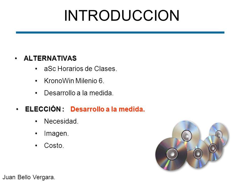 INTRODUCCION ALTERNATIVAS aSc Horarios de Clases. KronoWin Milenio 6.