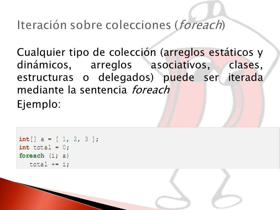 Iteración sobre colecciones (foreach)