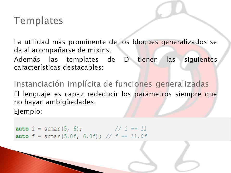 Templates Instanciación implícita de funciones generalizadas
