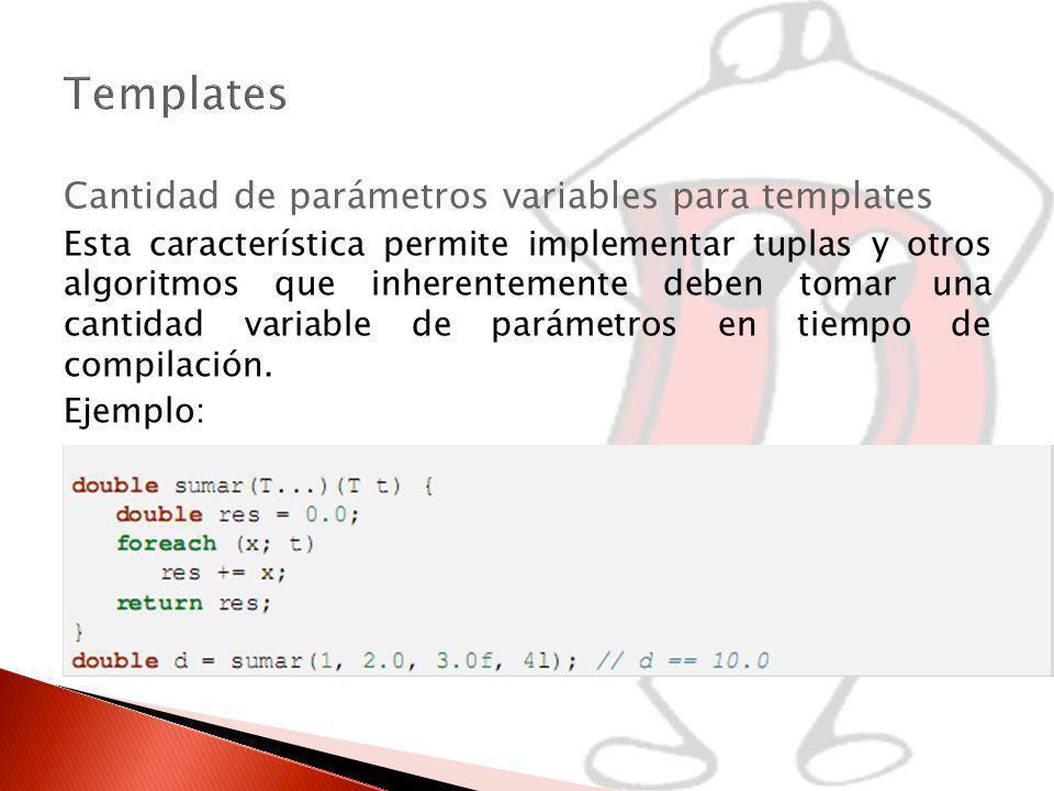 Templates Cantidad de parámetros variables para templates