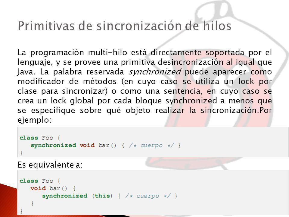 Primitivas de sincronización de hilos