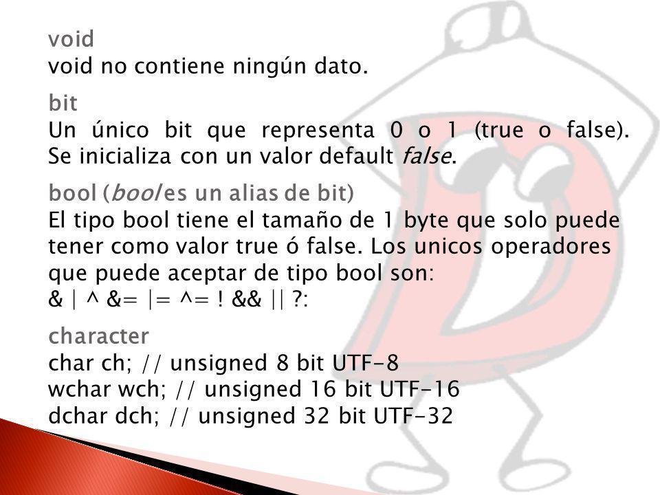 void void no contiene ningún dato. bit. Un único bit que representa 0 o 1 (true o false). Se inicializa con un valor default false.