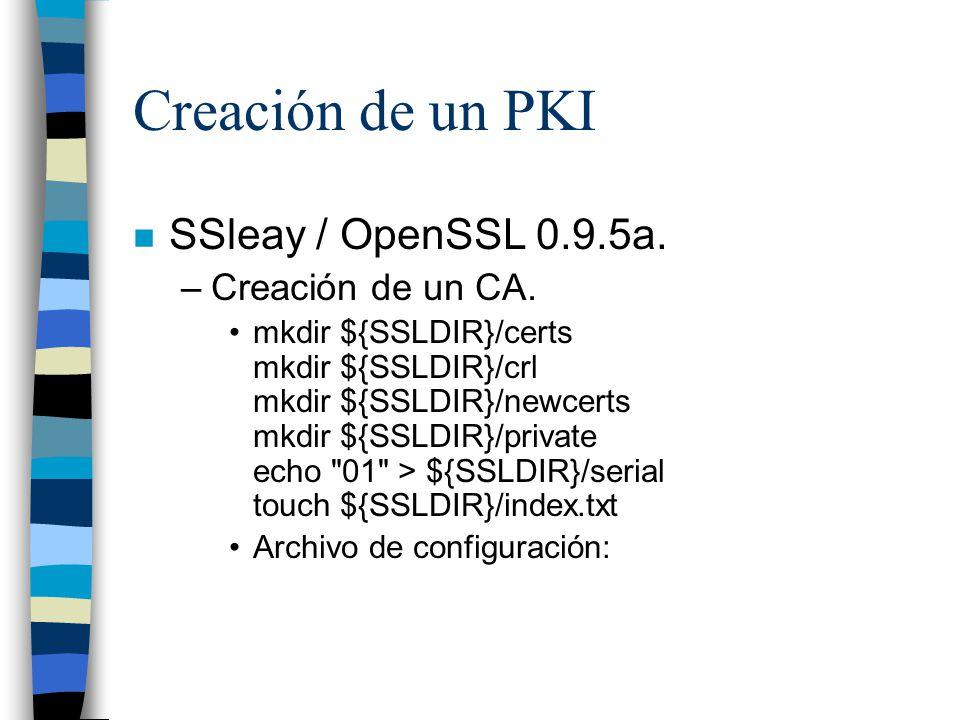 Creación de un PKI SSleay / OpenSSL 0.9.5a. Creación de un CA.
