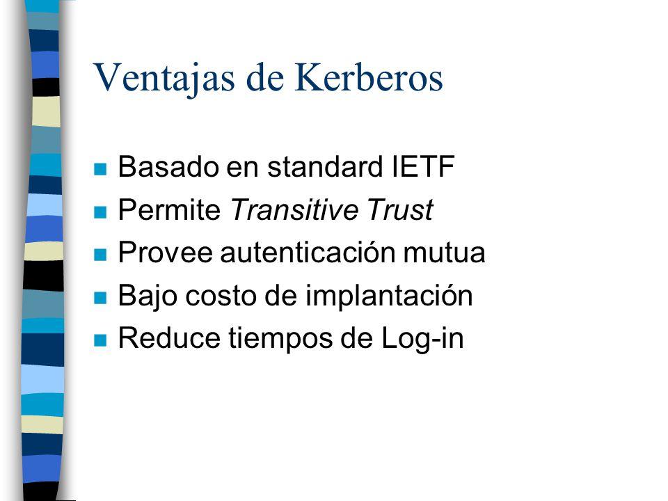 Ventajas de Kerberos Basado en standard IETF Permite Transitive Trust